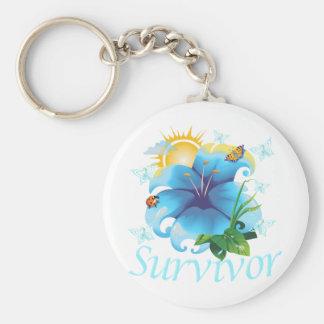 Survivor flower light blue keychain