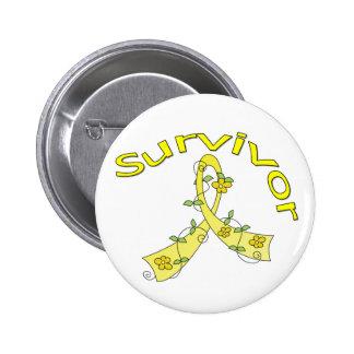 Survivor Flower Ribbon Bladder Cancer Pinback Buttons
