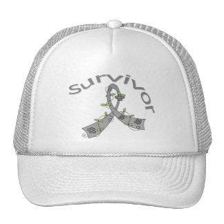 Survivor Flower Ribbon Brain Cancer Trucker Hat