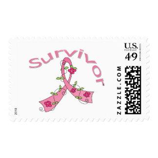 Survivor Flower Ribbon Breast Cancer Survivor Postage