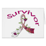 Survivor Flower Ribbon Head and Neck Cancer Greeting Card