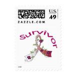 Survivor Flower Ribbon Head and Neck Cancer Postage Stamps