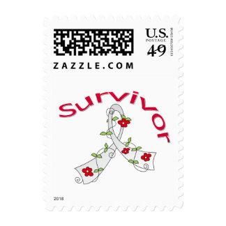 Survivor Flower Ribbon Lung Cancer Postage Stamp