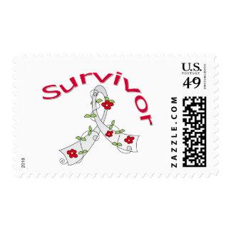Survivor Flower Ribbon Lung Cancer Stamp