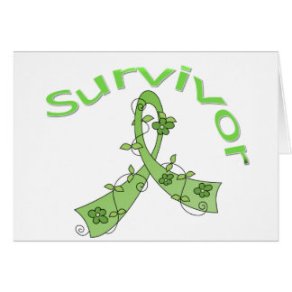Survivor Flower Ribbon Lymphoma Greeting Cards