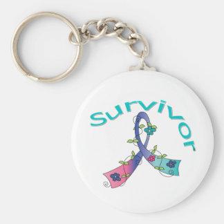 Survivor Flower Ribbon Thyroid Cancer Basic Round Button Keychain