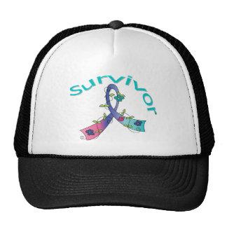 Survivor Flower Ribbon Thyroid Cancer Hat
