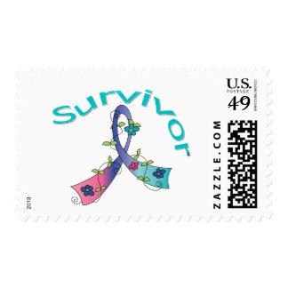 Survivor Flower Ribbon Thyroid Cancer Postage Stamps