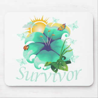 Survivor flower teal mouse pad