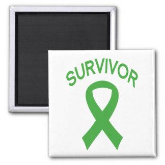 Survivor green Kidney Cancer ribbon square magnet