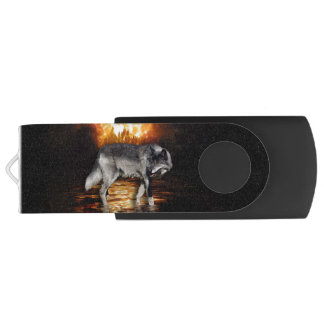 """Survivor"" Grey Wolf And Forest Fire Swivel USB 2.0 Flash Drive"