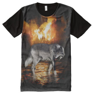 Survivor Grey Wolf and Wildfire Design All-Over-Print T-Shirt