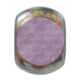 Survivor Modern Calligraphy Hand Lettering Design Glass Jar