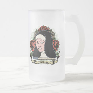 Survivor Nun Frosted Glass Beer Mug