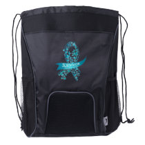 Survivor Ovarian Cancer Awareness Drawstring Backpack