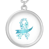 Survivor Ovarian Cancer Awareness Silver Plated Necklace