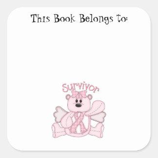 Survivor (pink bear) square sticker