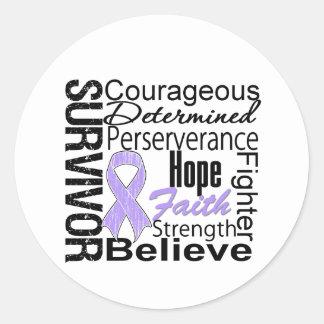Survivor Powerful Slogans Collage General Cancer Classic Round Sticker