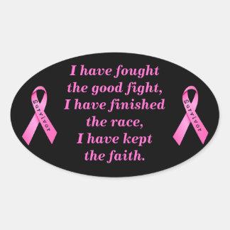 Survivor Ribbon On Black Oval Sticker