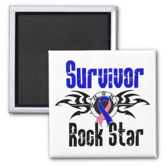 Survivor Rock Star - Male Breast Cancer Survivor 2 Inch Square Magnet