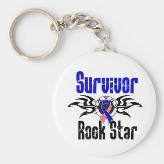 Survivor Rock Star - Male Breast Cancer Survivor Basic Round Button Keychain