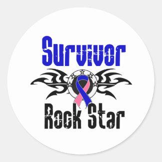 Survivor Rock Star - Male Breast Cancer Survivor Classic Round Sticker