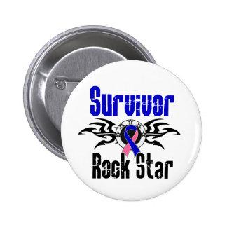 Survivor Rock Star - Male Breast Cancer Survivor Pinback Button