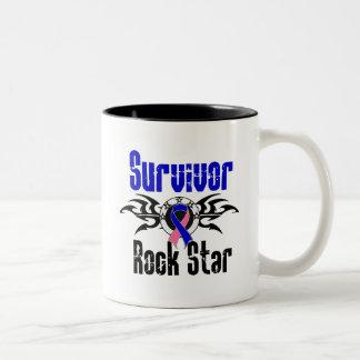 Survivor Rock Star - Male Breast Cancer Survivor Two-Tone Coffee Mug