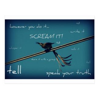 Survivor, Speak Your Truth, Bird on Wire Postcard