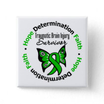 Survivor Traumatic Brain Injury v2 Pinback Button