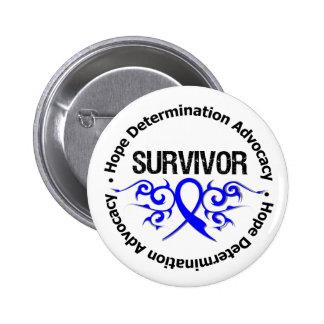 Survivor Tribal Ribbon Colon Cancer Button