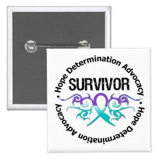 Survivor Tribal Ribbon Domestic Violence Button