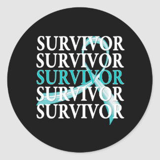 Survivor Whimsical Collage Ovarian Cancer Stickers