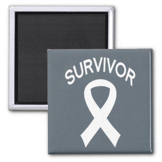 Survivor White Lung Cancer ribbon square magnet