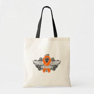 Survivor Winged Swirls - Kidney Cancer Tote Bags