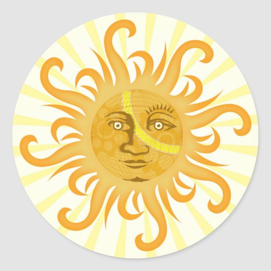 Suryadev : The Sun Classic Round Sticker
