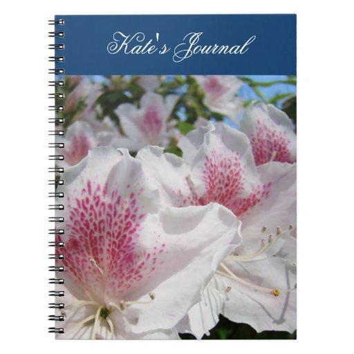 Sus azaleas conocidas del blanco del rosa del cuad libros de apuntes con espiral
