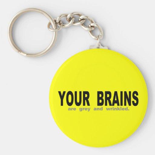 Sus cerebros son grises y arrugados llavero personalizado