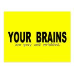 Sus cerebros son grises y arrugados postal