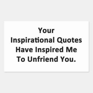 Sus citas inspiradas pegatina rectangular