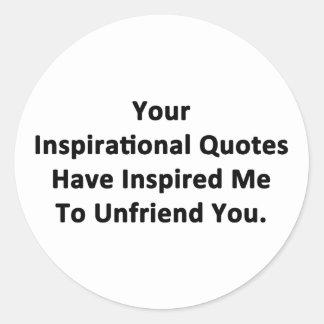 Sus citas inspiradas pegatina redonda