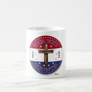 ¡SUS CUENTAS DEL VOTO! 2012 redondo con la cruz Taza De Café