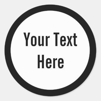 Sus del texto pegatinas redondos de la frontera pegatina redonda