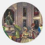 Sus fotos en una galería de arte histórica etiqueta redonda