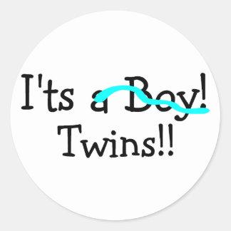 Sus gemelos (muchachos) pegatina redonda