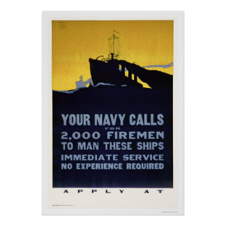 Sus llamadas de la marina de guerra - bomberos nec póster
