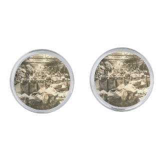 Sus mancuernas plateadas plata redonda de encargo gemelos plateados