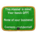 Sus manos del planificador