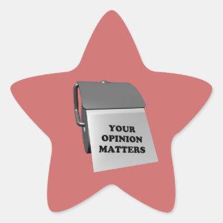 Sus materias de la opinión pegatina en forma de estrella