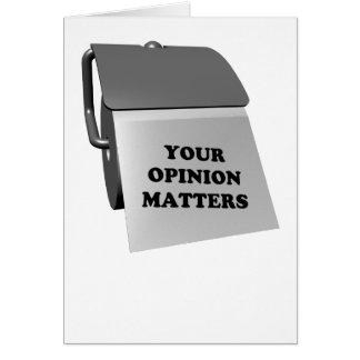 Sus materias de la opinión tarjeta